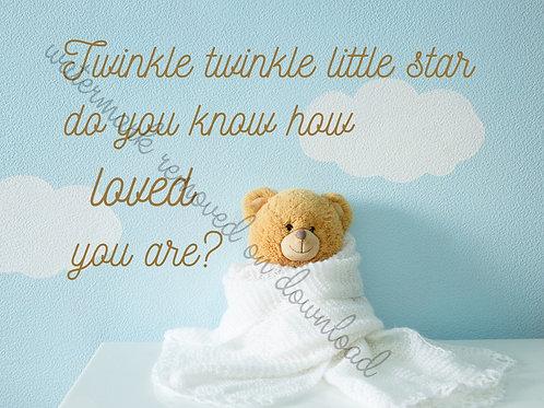 """Twinkle twinkle little star - Cloud bear - Digital file download - 10"""" x 8"""" -JPG"""