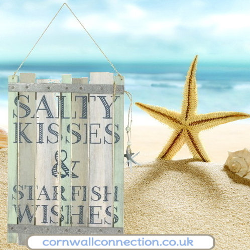 Hanging sign - Salty kisses & Starfish wishes - wooden
