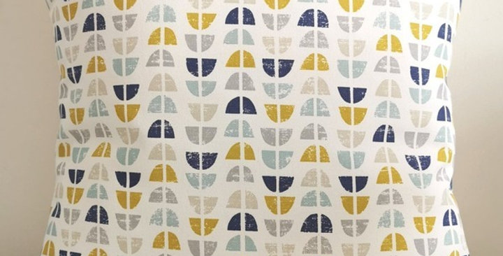 Scandi ODENSE print cushion cover - Ochre, Grey, Duck egg blue