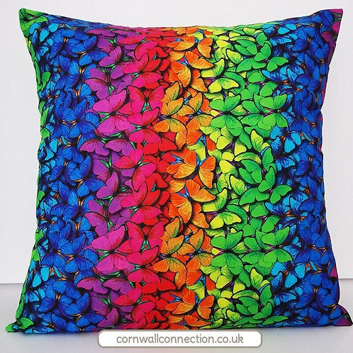 Rainbow butterflies cushion cover - vibrant - colourful - stunning!