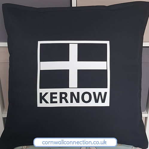 "KERNOW cushion - LARGE - 20"" complete with insert - BLACK - Cornwall"