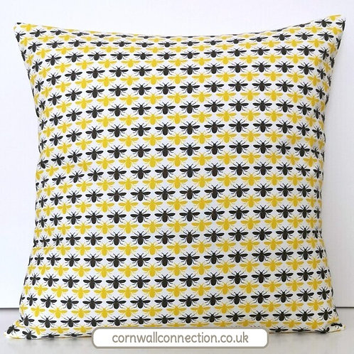 BEE print Cushion cover - Bee print - Grey and yellow bees on a white background