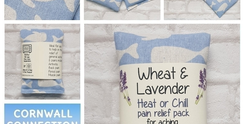 Wheat and Lavender bag - Heat pack/Chill pack - Healing, Pain relief, BIG whales