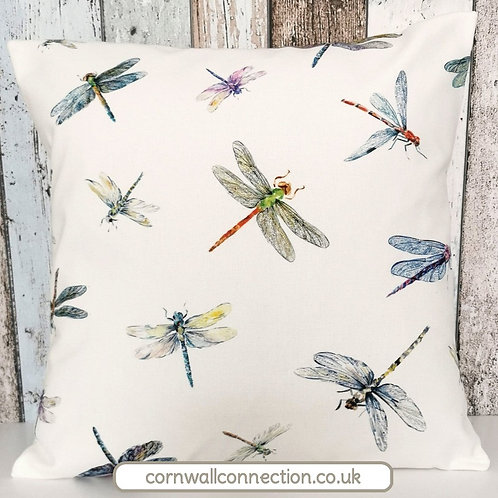 Dragonflies cushion cover -  Beautiful, colourful dragonflies on an  ivory bg