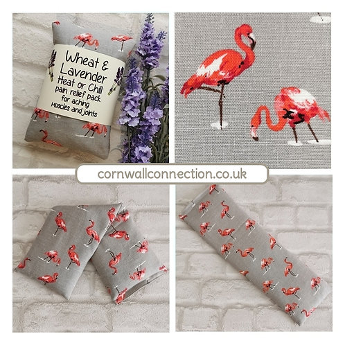 Wheat & Lavender bag - Heat/Chill pack - Healing, Pain relief - Flamingos
