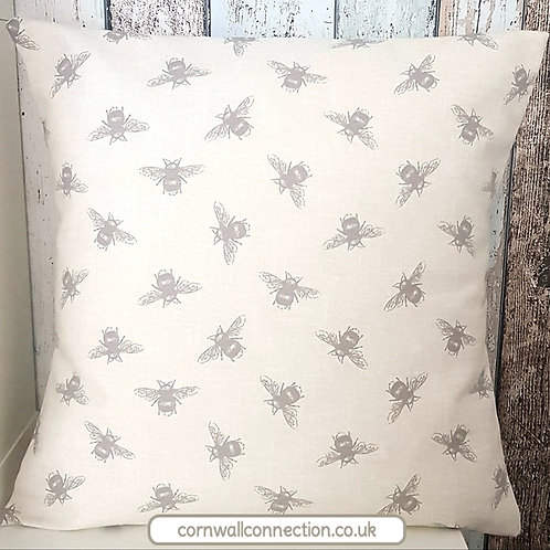 BEES cushion cover - Natural - Bee print - Fryetts Linen