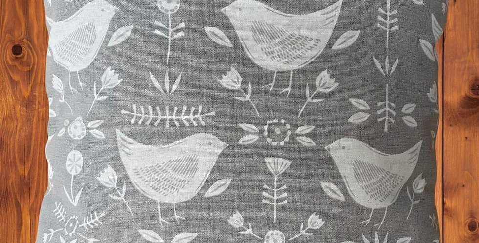 Scandi Birds print cushion cover - Grey and white - Birds print cushion cover