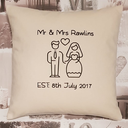 PERSONALISED wedding Cushion - ANY COUPLE - Natural or Grey - with insert