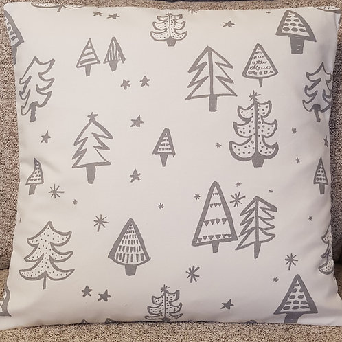 Christmas trees Cushion cover - Silver grey and white - geometric style