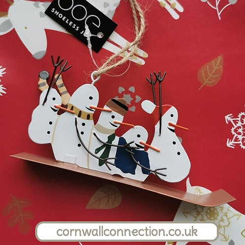 Snowmen on sledge - Hanging snowmen Christmas decoration - Adrenaline snowmen!