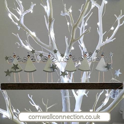 Winter Angel Scene - Angels snow and stars on wooden base - Shoeless Joe