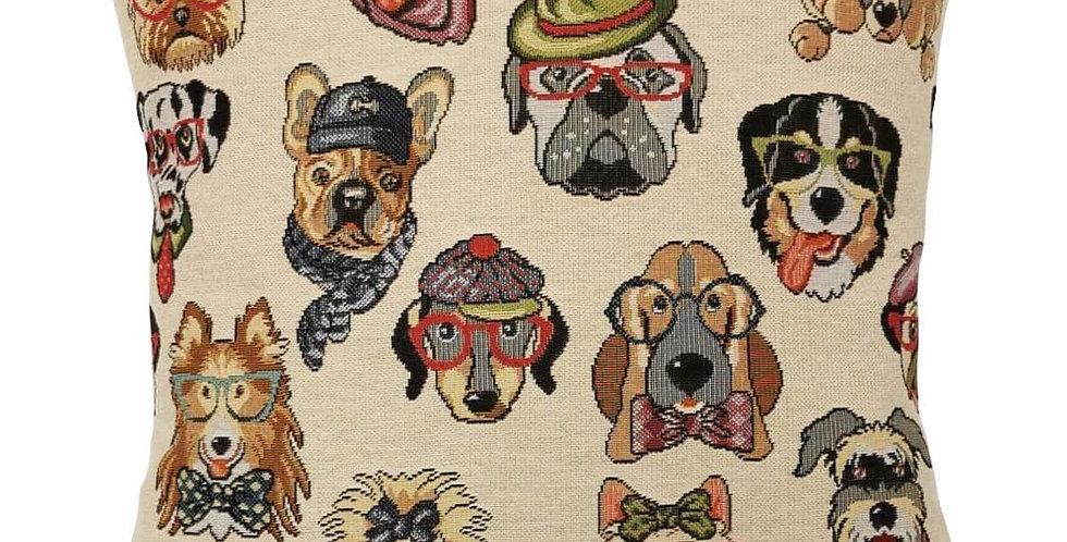 Dog cushion cover, yorkie, bulldog, poodle, bassett, collie, dalmation & more