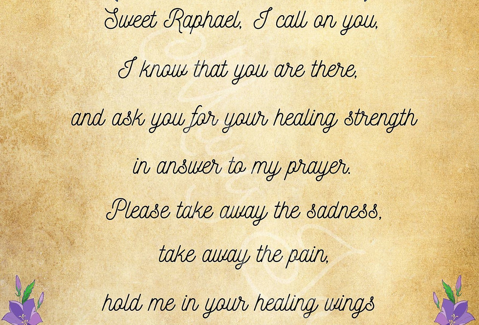 "The Archangel Raphael healing prayer - Digital file download - 10"" x 8"" - JPG"
