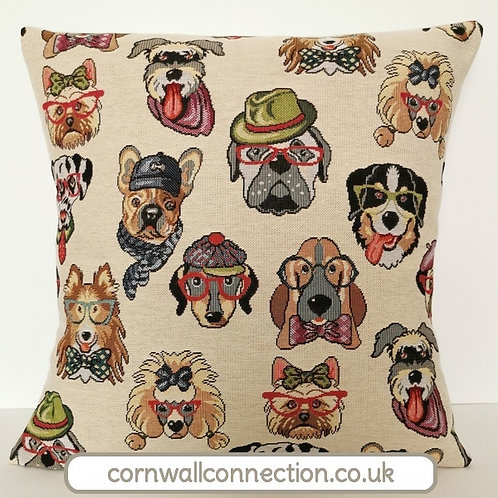 Dog cushion cover, yorkie, bulldog, poodle, bassett, collie, dalmation & more