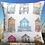 Thumbnail: Beach Huts cushion cover - Watercolour effect  - Rare fabric