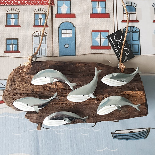 Pod of Whales Driftwood hanging wall decor - Orca, Beach, Coastal, Rustic