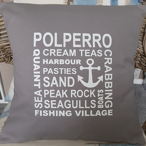 Polperro collage cushion - with pad - Pewter Grey - unique