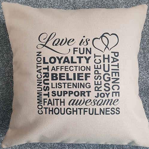 """Love is"" collage cushion with insert. Colour: Hessian - Wedding"