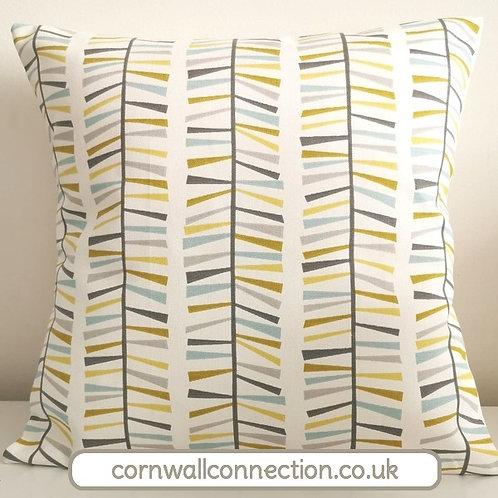 Scandi MALMO print cushion cover - Ochre, Grey, Duck egg blue