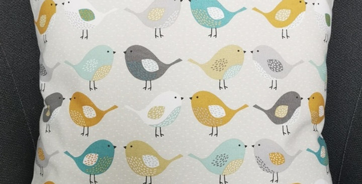 Scandi Birds print cushion cover - Ochre, Grey, Teal, Duck egg blue