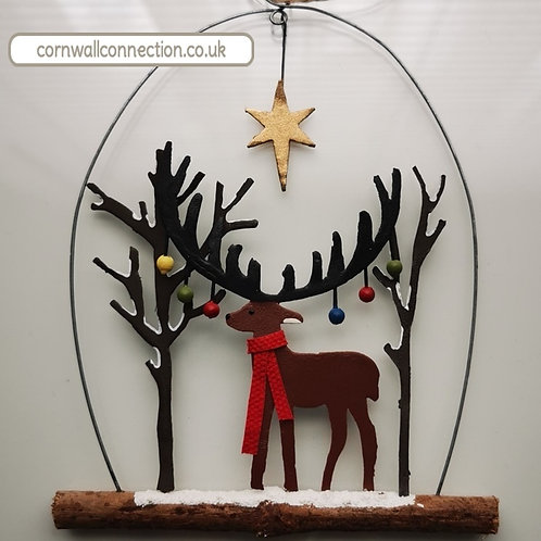 Stag with baubles and star in snow - Hanging Christmas Decoration
