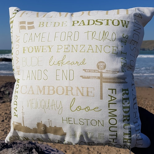 Cornish places cushion with pad - Sage green & beige on ivory