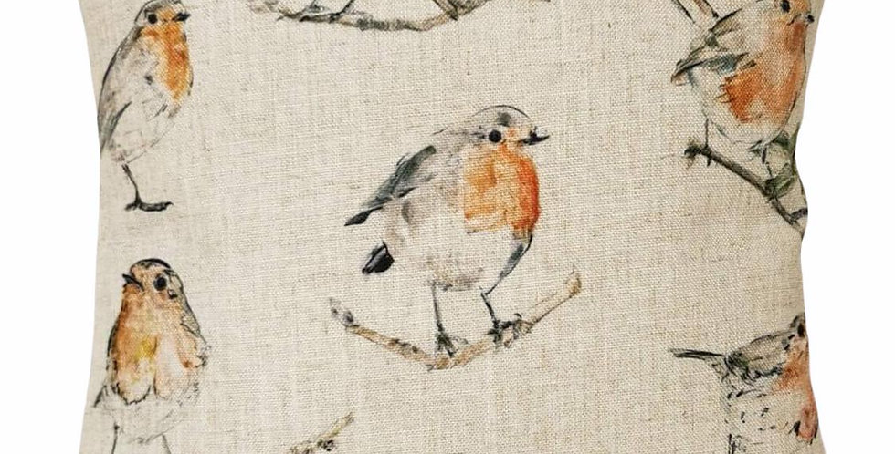 Watercolour Robins cushion cover - Robins in many poses on a cotton/linen fabric
