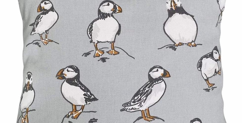 Puffins Cushion Cover - Dancing, happy, jumping, posing coastal puffins -GREY