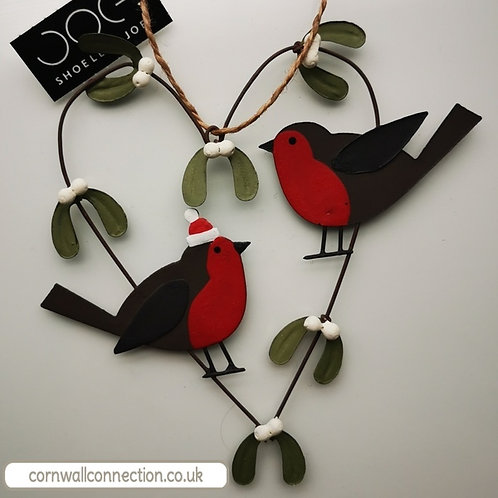 Robins in mistletoe heart - Christmas Decoration - Hanging heart - lovebirds