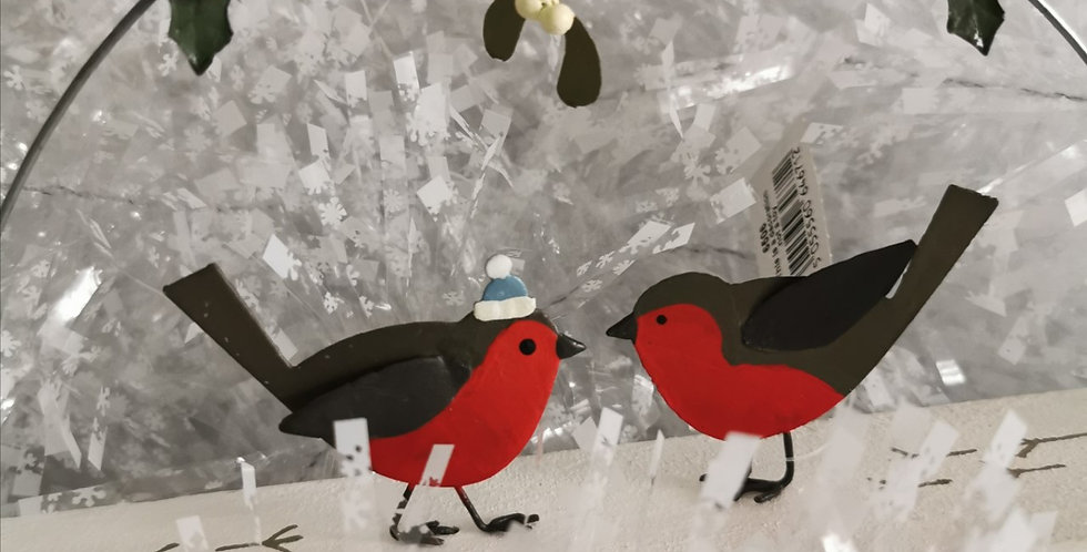 Robins under mistletoe - Christmas Decoration - Snow love holly Shoeless Joe