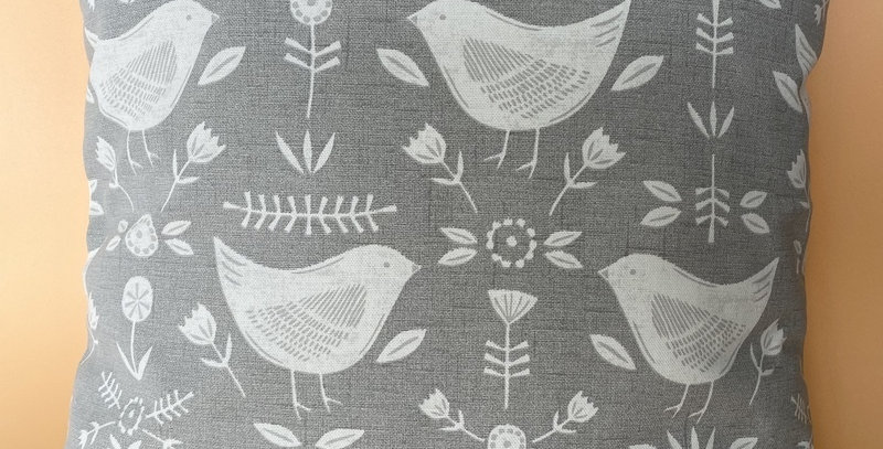 Scandi Birds print cushion cover - Grey and white - Birds print cushion cover