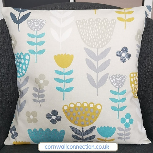 Scandi Flowers print cushion cover - Ochre, Grey, Teal