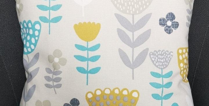 Scandi Flowers print cushion cover - Ochre, Grey, Teal