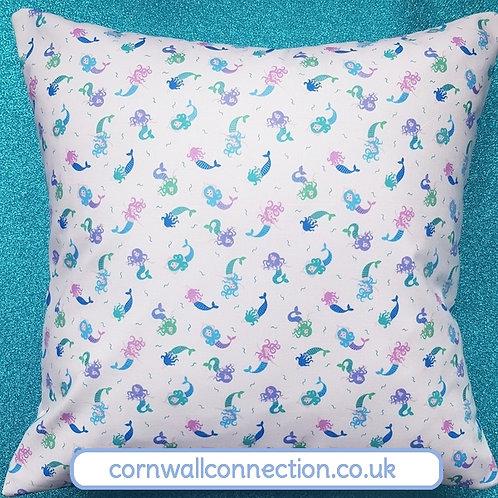 Mermaids cushion cover  - metallic fabric - gorgeous!