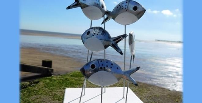 Swirl of silver fish Bream on square wooden base-Shoeless Joe - Rustic Seaside C
