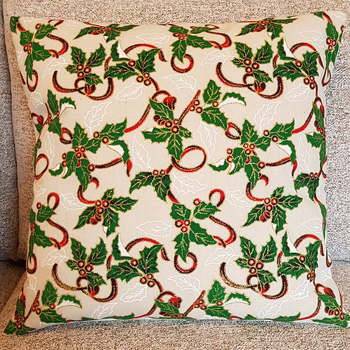 Christmas Holly Cushion cover - Natural Hessian style - Gold Glitter effect