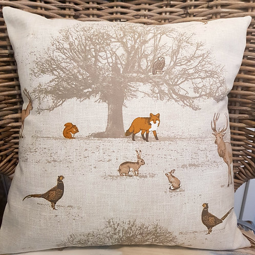 Country Collection - Woodland scene cushion cover - fox - owl - stag - rabbit