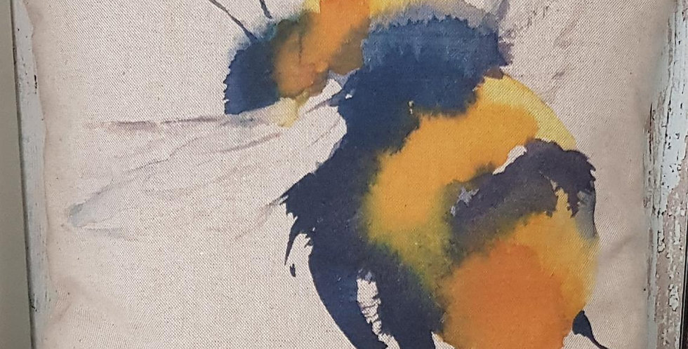 Giant BEE cushion cover - Watercolour effect single bee - Bumblebee
