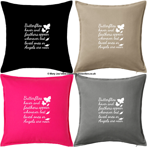 """""""Butterflies hover"""" - LARGE 20"""" x 20"""" cuddle cushion with insert - 4 colours"""