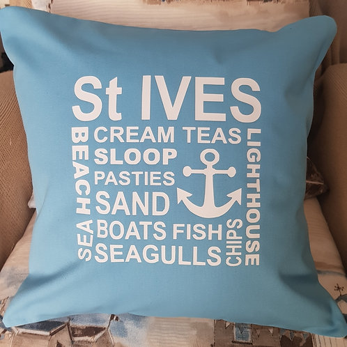 St Ives Collage Cushion - with pad - Cornflower - unique