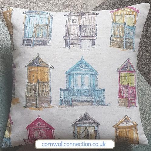 Beach Huts cushion cover - Watercolour effect  - Rare fabric