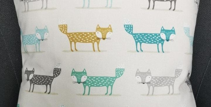 Scandi Foxy fox print cushion cover - Ochre, Grey, Teal, Duck egg blue
