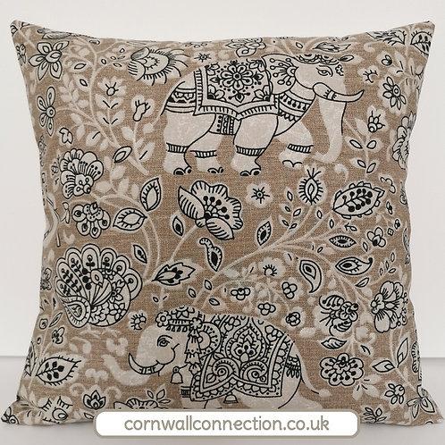 Indian Elephant print cushion cover - Batik cushion cover - Stone bg