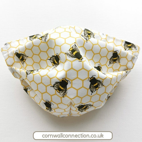 Ivory BEE beehive Child or Adult Face Mask 4 sizes Snug fit, Washable, re-usable
