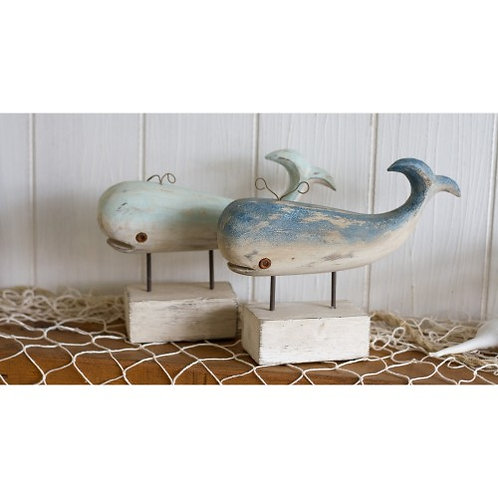 Whale ornament on stand - wooden - Orca - rustic