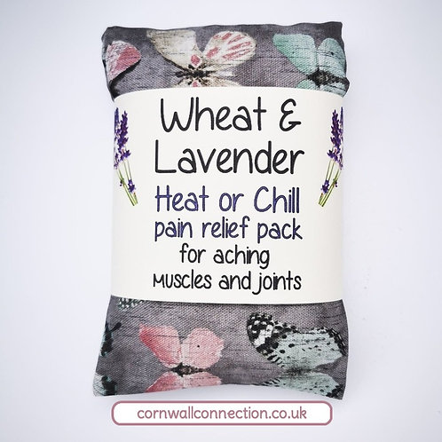 Wheat & Lavender bag - Heat or Chill pack, Healing, Pain relief, Butterflies