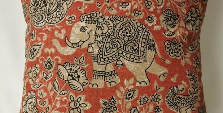 Indian Elephant print cushion cover - Batik cushion cover - Terracotta - Henna