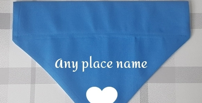 PERSONALISED Dog Bandana - HEART - 3 SIZES - 3 COLOURS - PLACE of your choice