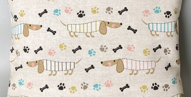 Dachshund cushion cover - Sausage dog cushion cover - Paw prints and bones