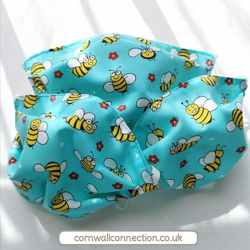 Happy BEES Child or Adult Face Mask. Aqua. 4 sizes Snug fit, Washable, re-usable